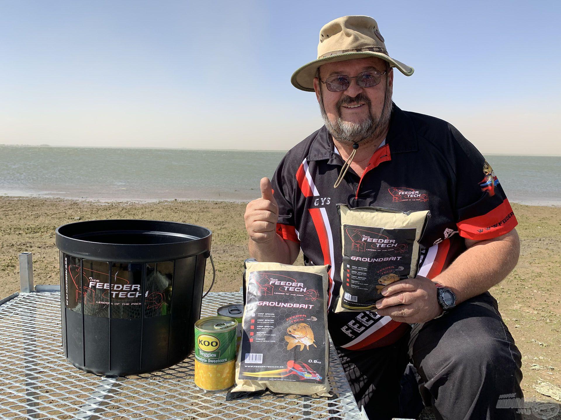 A helyi FeederTech Carp Special (natúr, kukoricás) etetőanyagot használtuk, köszönet érte a dél-afrikai válogatott kapitányának, Gys Vd Westhuizennek!