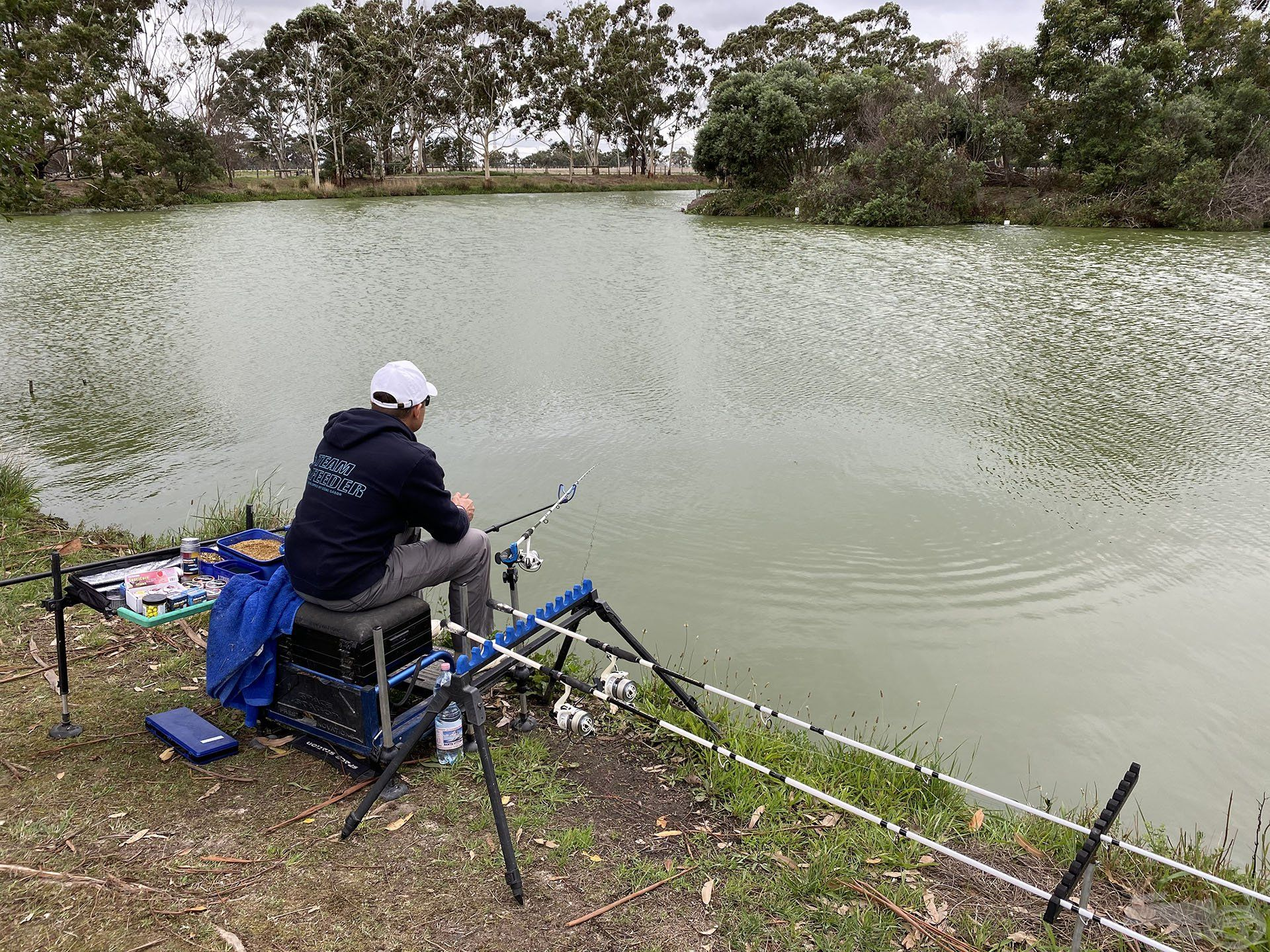 """Egy nagyon igényes és szépen kialakított, ahogy otthon mondanánk """"angolos"""" tavon horgásztam, amely a Melbourne-i Horgászklub versenytava, rengeteg ponttyal! Gondolnád, hogy ilyen is van Ausztráliában? Hát, bizony van!"""
