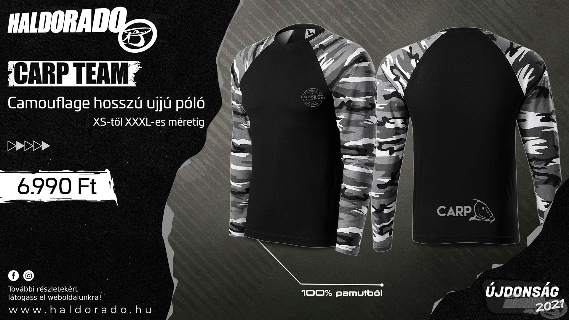 Újabb extra vagány és divatos taggal bővült a saját fejlesztésű, Haldorádó ruházataink kínálata! Íme, a Carp Team Camouflage hosszú ujjú póló kollekció!