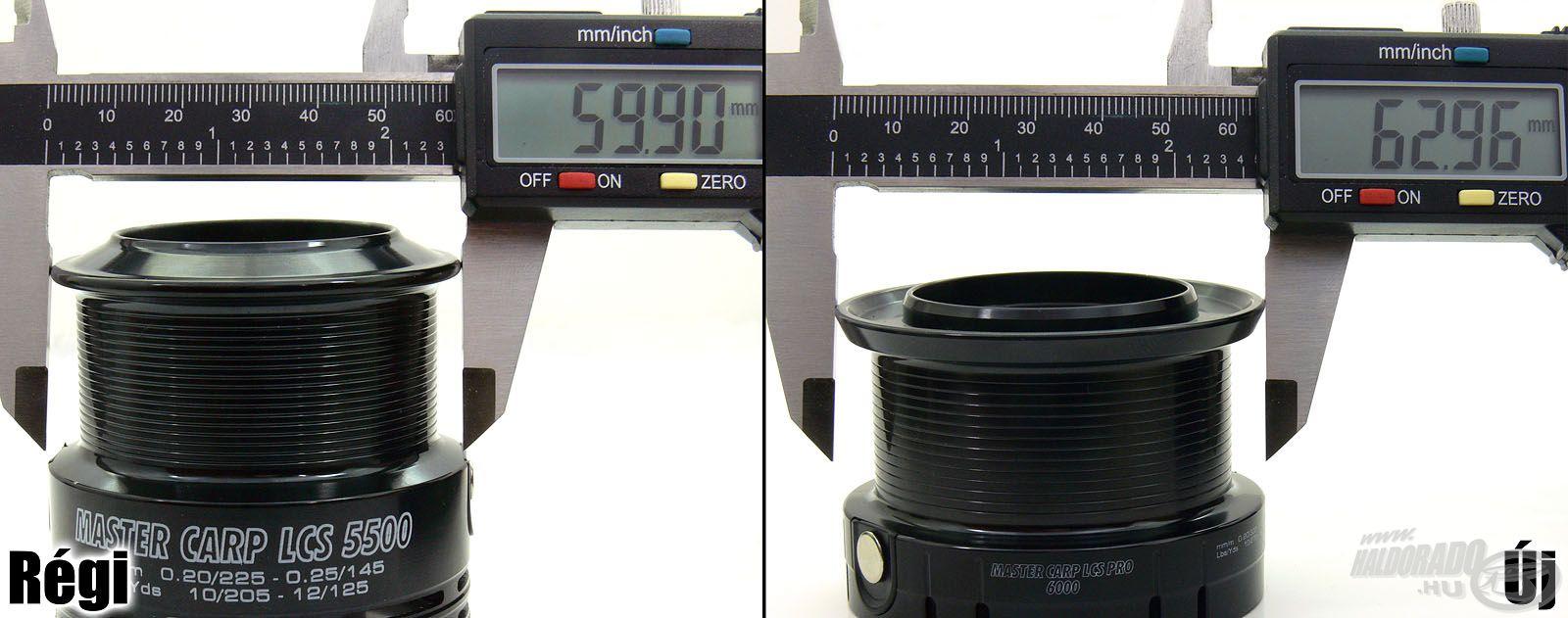Míg a régi 5500-as méret dobátmérője csupán 60 mm, az új, 6000-es változat már 63 mm-es dobbal büszkélkedik