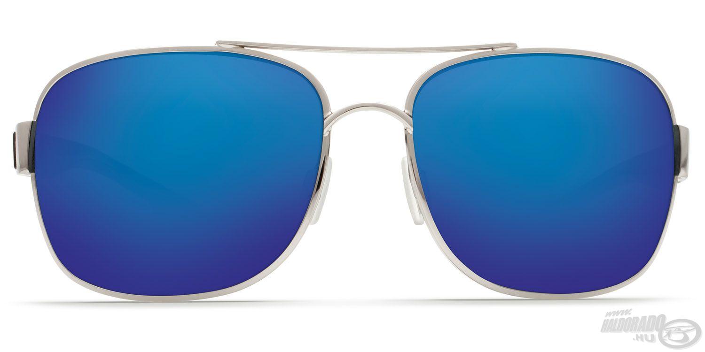 Szürke színű, kék tükröződő bevonattal ellátott lencse, karcálló polikarbonátból