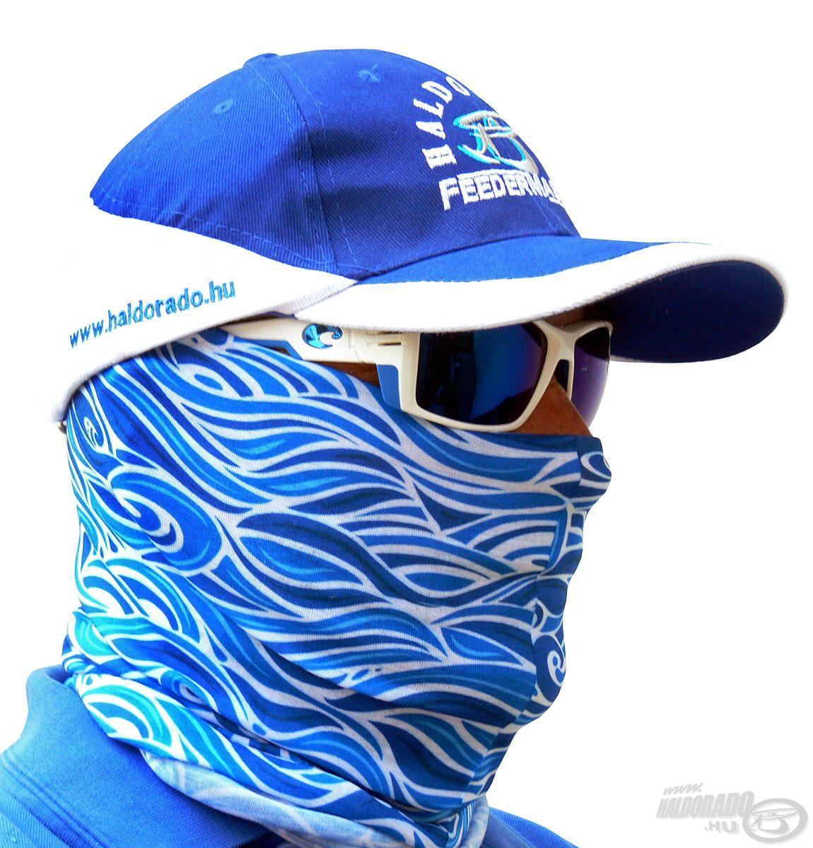 A Costa Waves maszk egy könnyed, multifunkcionális fejfedő, nyárias kék hullám mintás dizájnnal