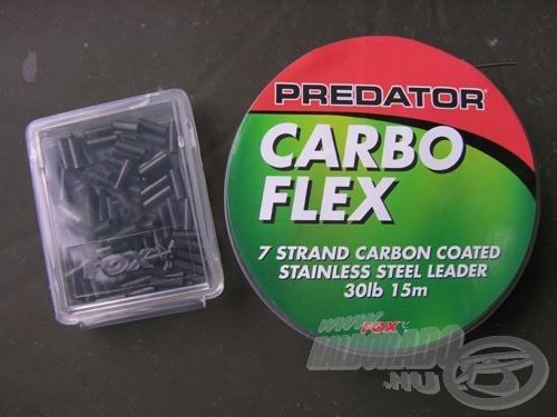 Minden Carbo Flex drótelőkéhez kapunk egy doboznyi crimpet (a képen balra)