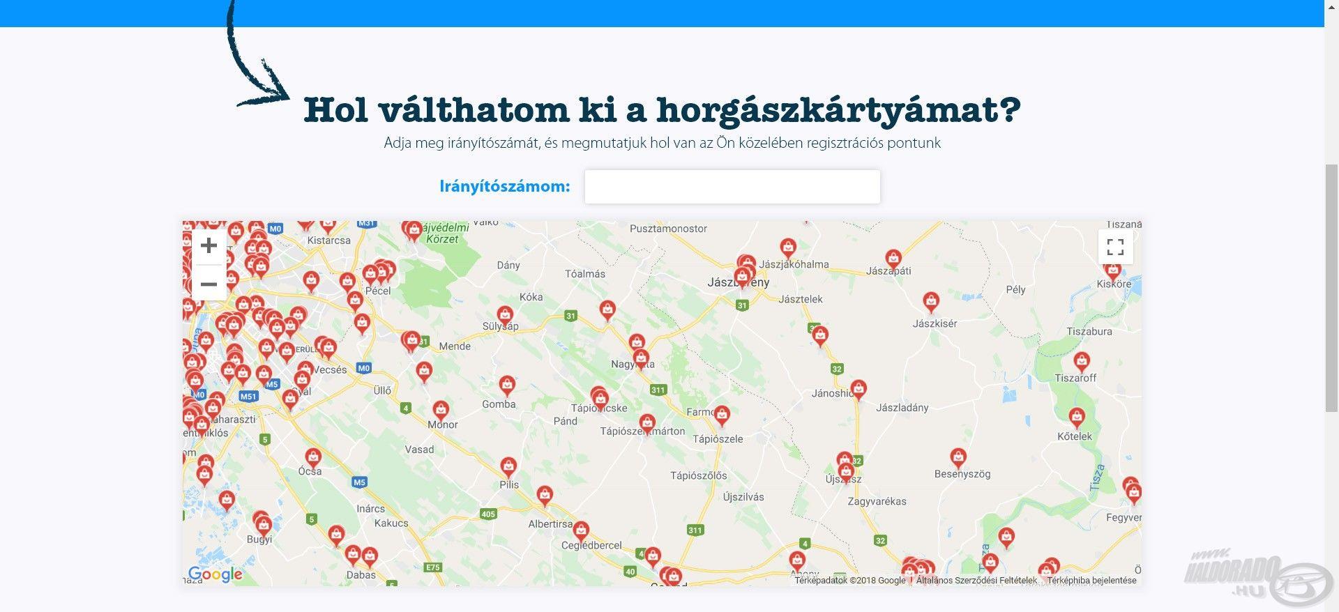 Ezt követően görgessünk kicsit lentebb és az itt található Google térkép a piros ikonokkal megmutatja, hol ejthetjük meg közelünkben a kártyaigénylést. Ha egy ikonra rátesszük a kurzort, bővebb információt is láthatunk a megjelölt helyről