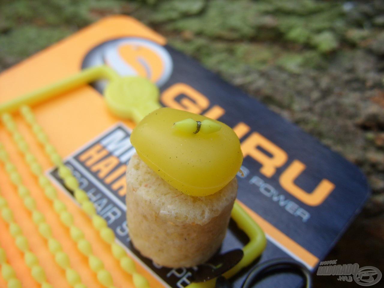 A csali felső rögzítésére egyik kedvenc típusomat, egy sárga Guru stoppert használtam