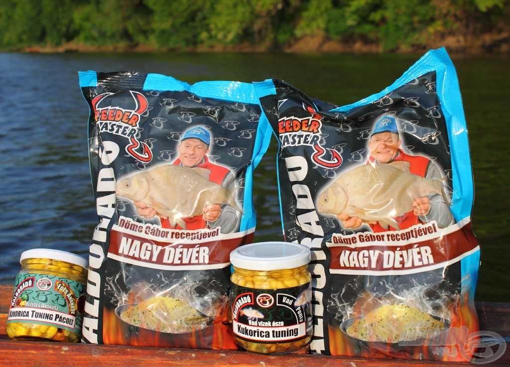 Az etetésre mindössze ennyit szántunk: 2 kg Haldorádó Nagy Dévér etetőanyag, a nagyobb testű halaknak - már ha lesznek - meg ízesített kukoricák