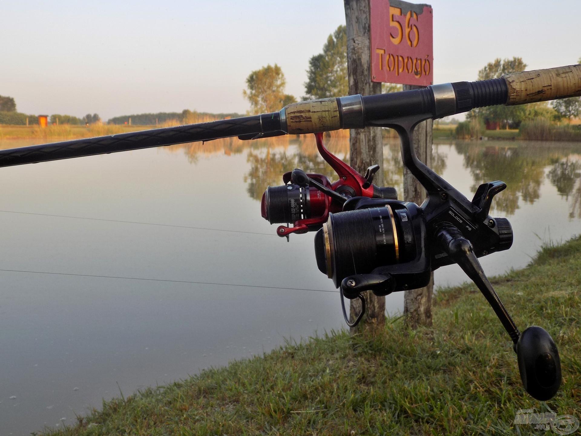 Rövid, medium és heavy erősségű feederbotokkal vettem üldözőbe a tóban élő pontyokat. A dobótávolság 40-50 méter körül alakult, így szükségtelen volt a hosszabb botok használata