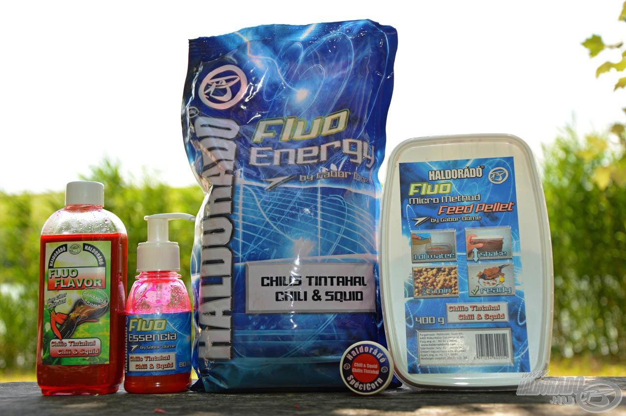 A Chilis Tintahal íz is 4 Fluo termékben került forgalomba: Fluo Flavor, Fluo Essencia, Fluo Energy etetőanyag és Fluo Micro Method Feed Pellet