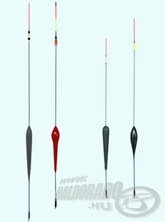 Néhány házilag készített érzékeny feltolós úszó; a bal oldali kettőt főleg éjjel használom, ezek antennavégében cserélhető a jelző