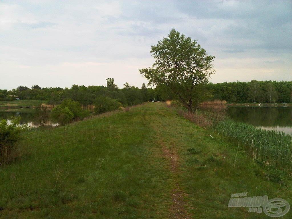A gátról nézve feltűnő a szintkülönbség: jobbra a kis tó, balra a nagy tó