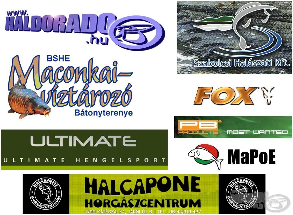 A verseny támogatói: Haldorádó horgászportál, Szabolcsi Halászati Kft., Maconkai-víztározó, FOX, Ultimate, PB Products, Halcapone Horgászbolt, MaPoE