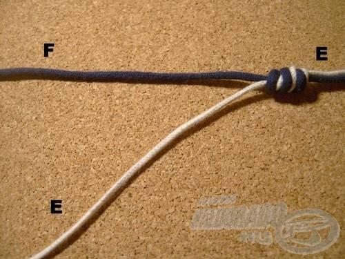 Nedvesítés után húzzuk szorosra a kötést és a botvég felé eső, felesleges (A) damilrészt vágjuk vissza
