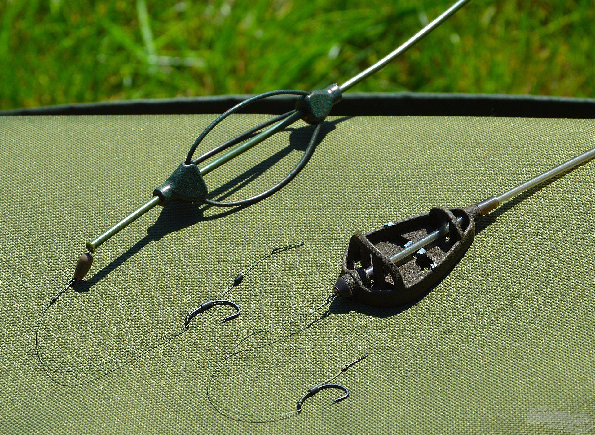 Két különböző végszereléket állítottunk össze, Sipi a Long Cast Method Feederes technikát választotta, én pedig Pellet Feeder kosárral horgásztam