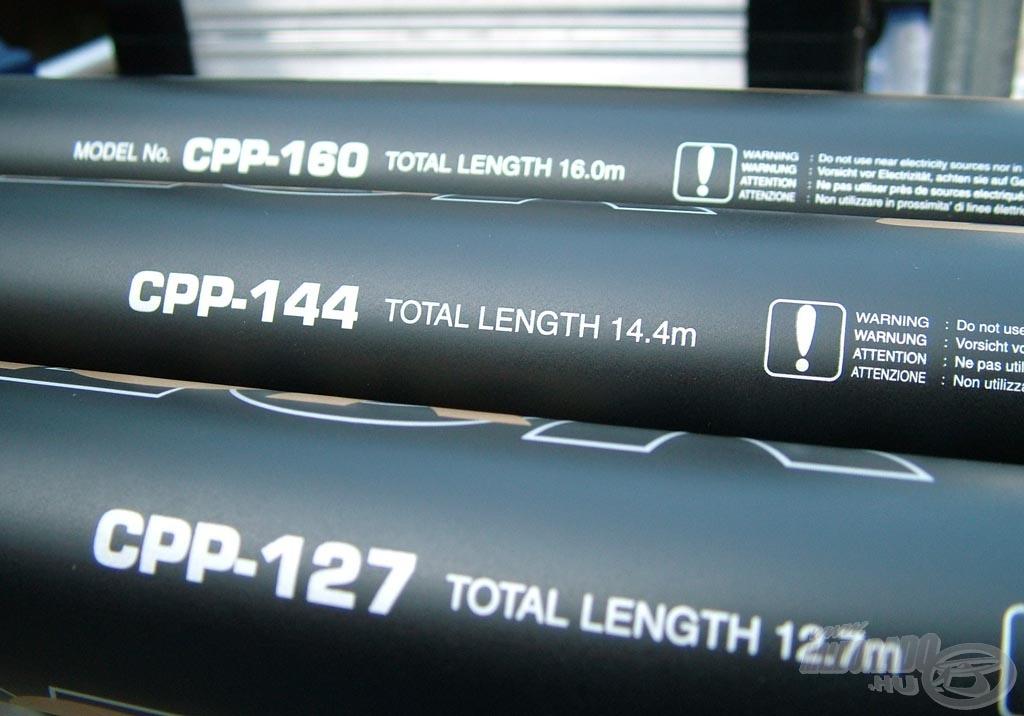 Festett nyéltagok a 14,4 és a 16,0 méteres hosszhoz is a CPP-160 angol változat esetében