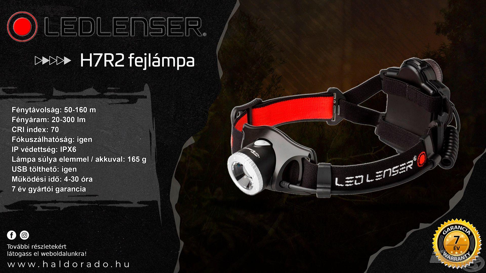 Az aktuális LEDLENSER H7R.2 modell esetében tovább tökéletesítették a már jól bevált funkciókat és a legmodernebb technológiával, valamint gyakorlati hasznú kényelmi jellemzőkkel egészítették ki