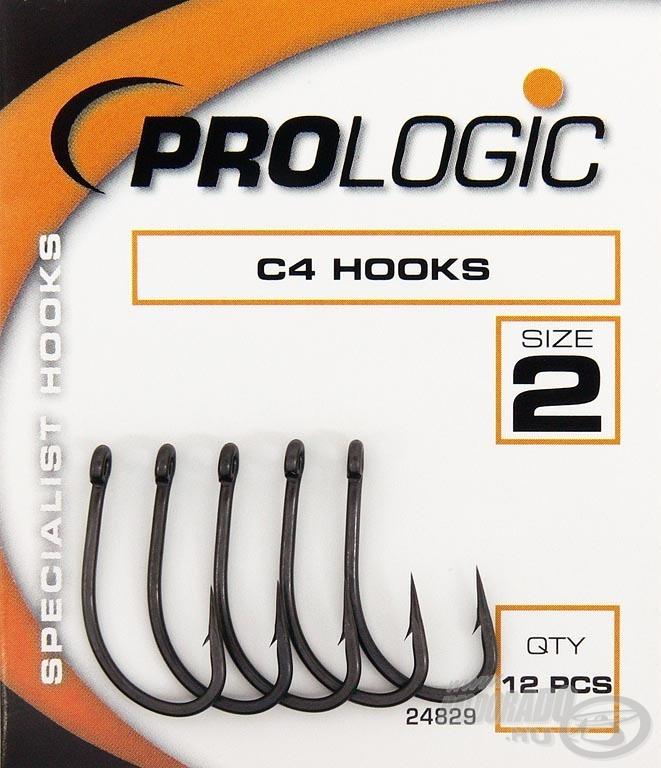 A Prologic C4 egyenes szárú és szemű öblös pontyozó horog