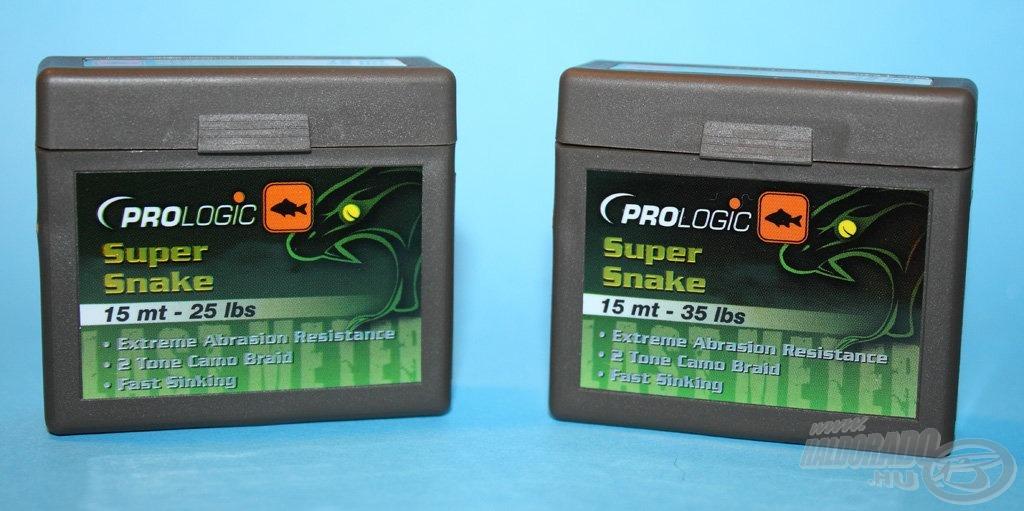 A Super Snake zsinórt 25 és 35 lbs szakítóértékkel forgalmazzuk