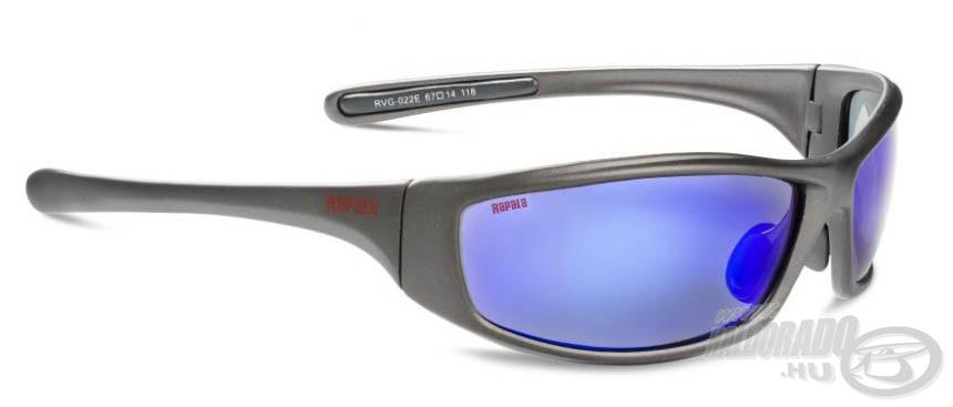 A Sportman's RVG-022E modellt ízléses, matt fekete kerettel, illetve kék tükrös bevonatú, borostyán színű lencsével tervezte a gyártó