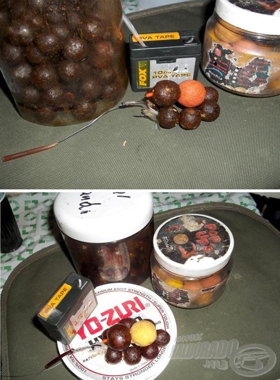 Az éjszakai újradobásoknál már variáltam egy-egy régi pop-uppal, pár szemmel PVA szalagon etetve
