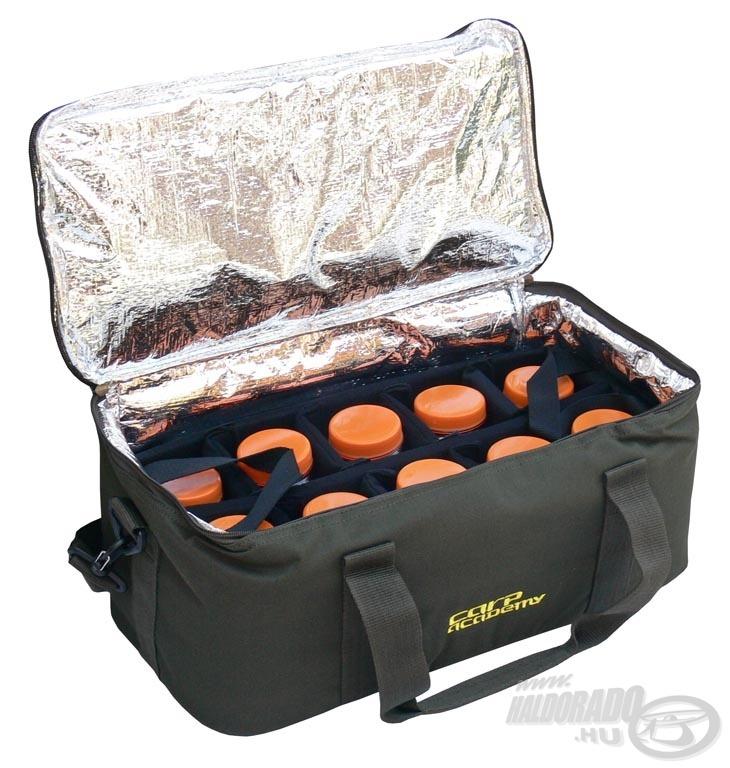A hűtőtáskában minimum 20 doboz csali és dip fér el. A táska a hidegtől és melegtől egyaránt megvédi értékes csalijainkat