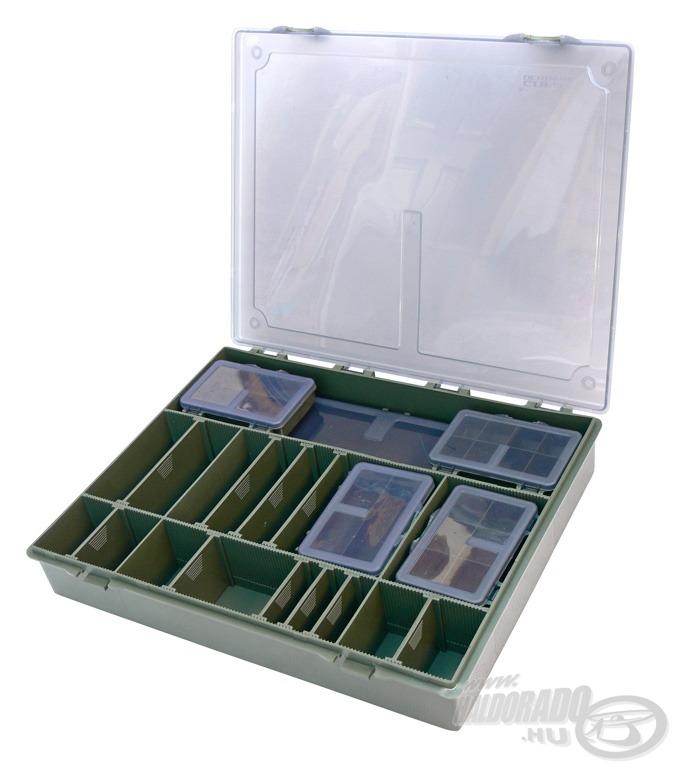 A nagy szerelékes dobozban minden szükséges aprócikkünk, kellékünk garantáltan rendezetten elpakolható
