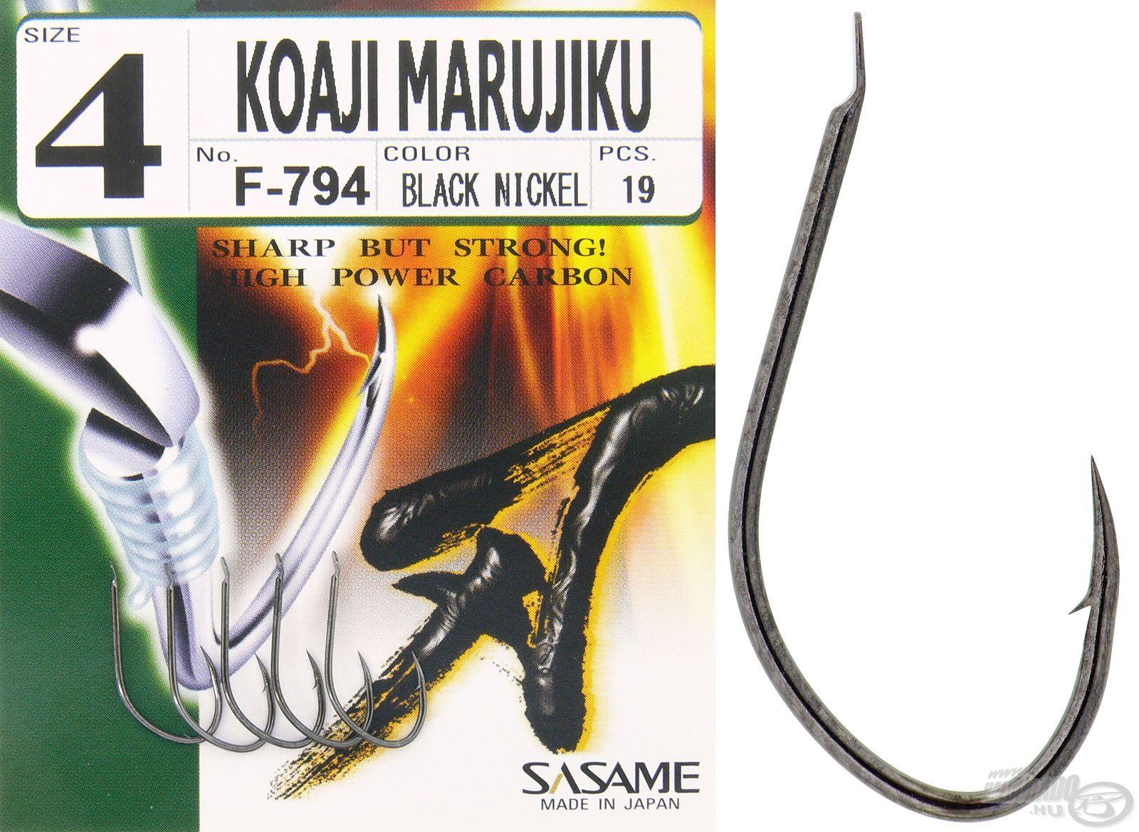 A Koaji Marujiku a legkedveltebb formájú horogtípus, ha finomszerelékes pontyhorgászatról van szó