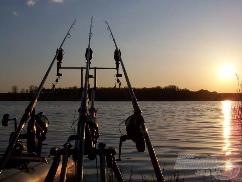 A partra érve óvatosan megfeszítettem a zsinórt, majd a swingerek felhelyezése után, felkészültem a türelmes várakozásra. (A középső horgászbot csak tartalék, hogy egy esetleges szakításnál ne kelljen az értékes időt szereléssel tölteni)