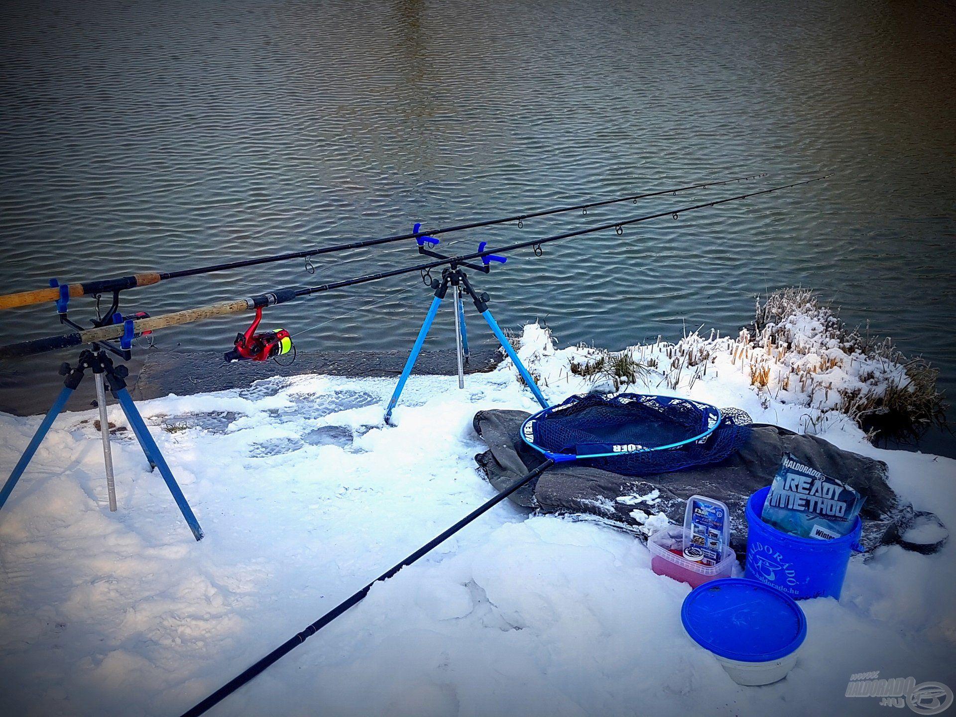 A -10 fok alatti zord idő sem tántorított el a horgászattól! A Préri Horgásztó és Szabadidőközpont kisebb tavai közül legalább az egyik egész évben jégmentes