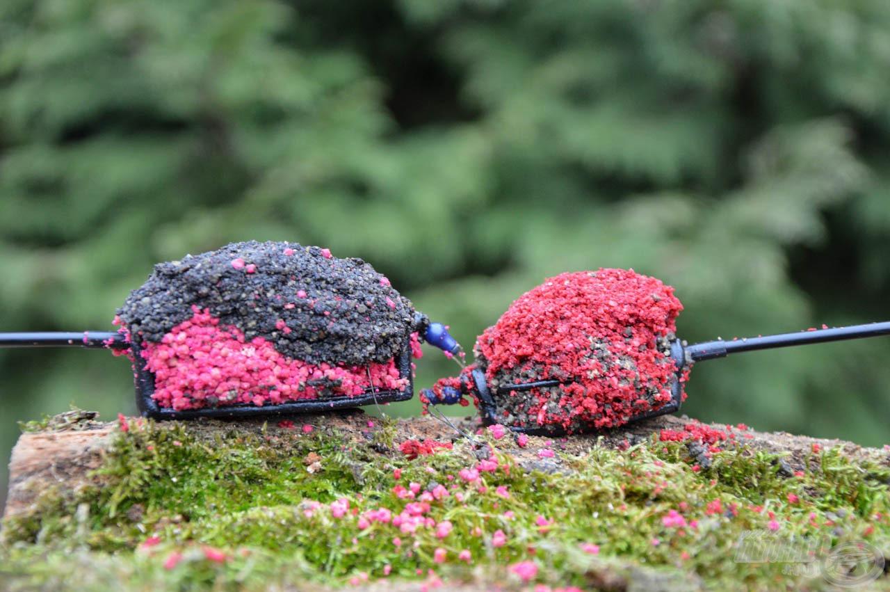 Vörös Gyümölcs pelleten halas etetőanyag és Fekete Erő pelleten gyümölcsös etetőanyag