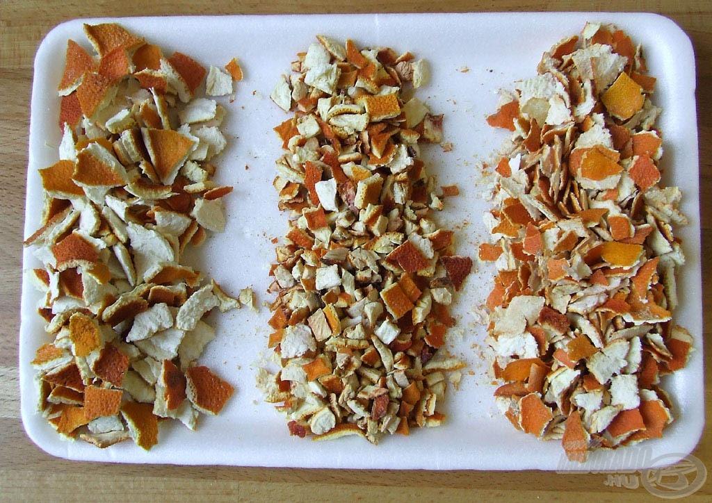 Balra egyben megszárított, összetört narancshéj, jobbra hasonlóan előkészítetett mandarinhéj, középen apróra vágva szárított narancshéj
