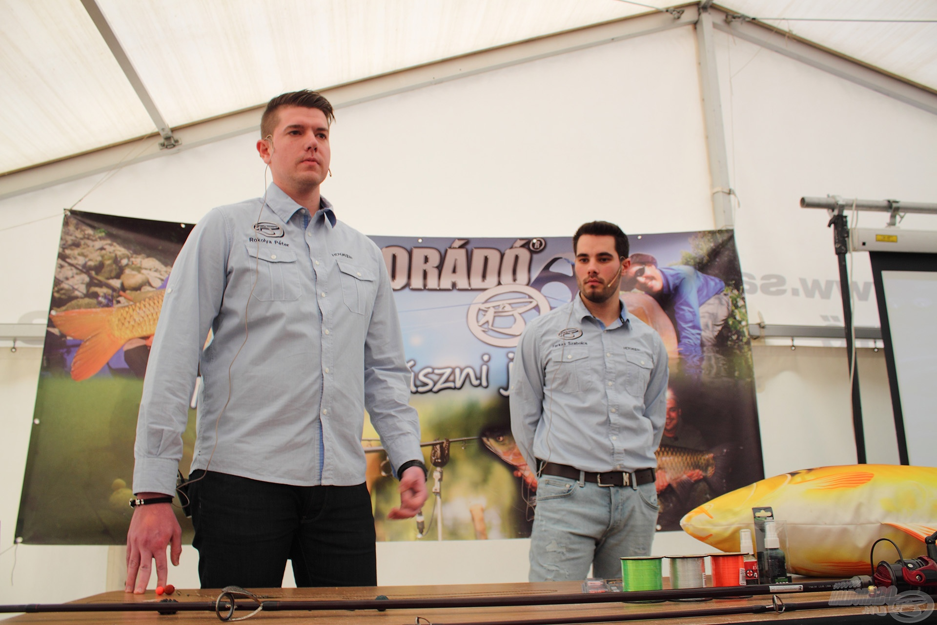 Rokolya Péter és Farkas Szabolcs a kezdő bojlis horgászok alapvető hibáiról tartott hasznos előadást