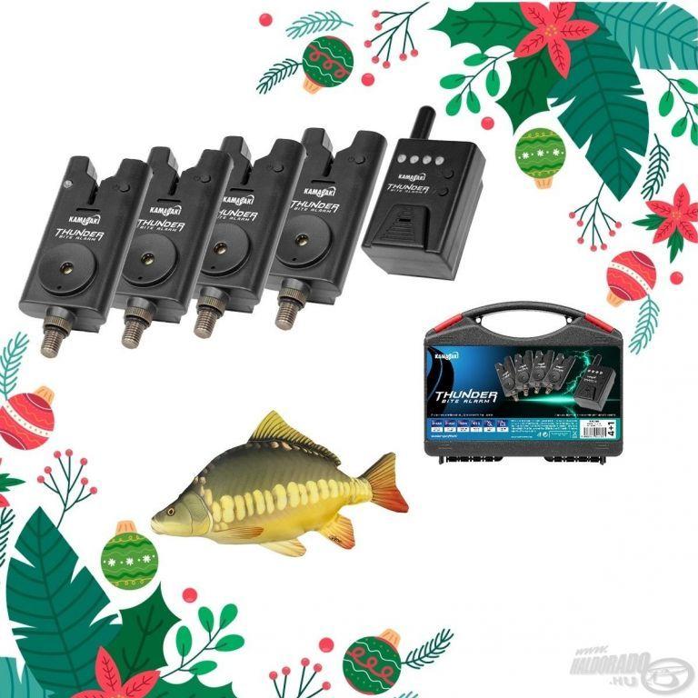 KAMASAKI Karácsonyi Thunder Kapásjelző szett 4+1 darabos + Ajándék ponty párna